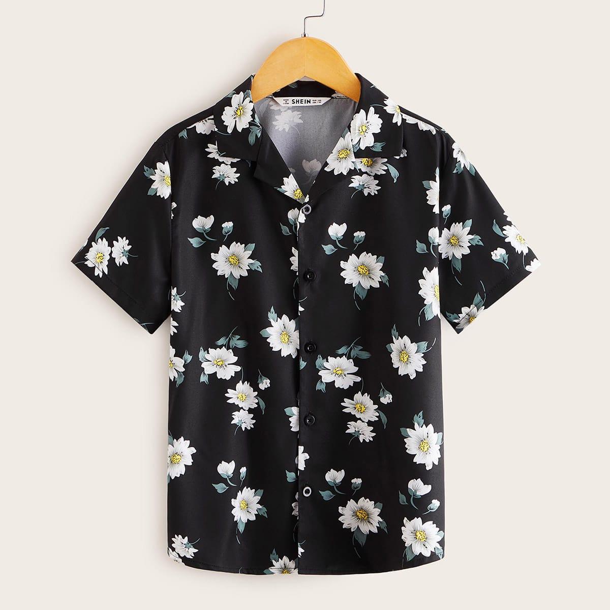 Рубашка с цветочным принтом для мальчиков от SHEIN