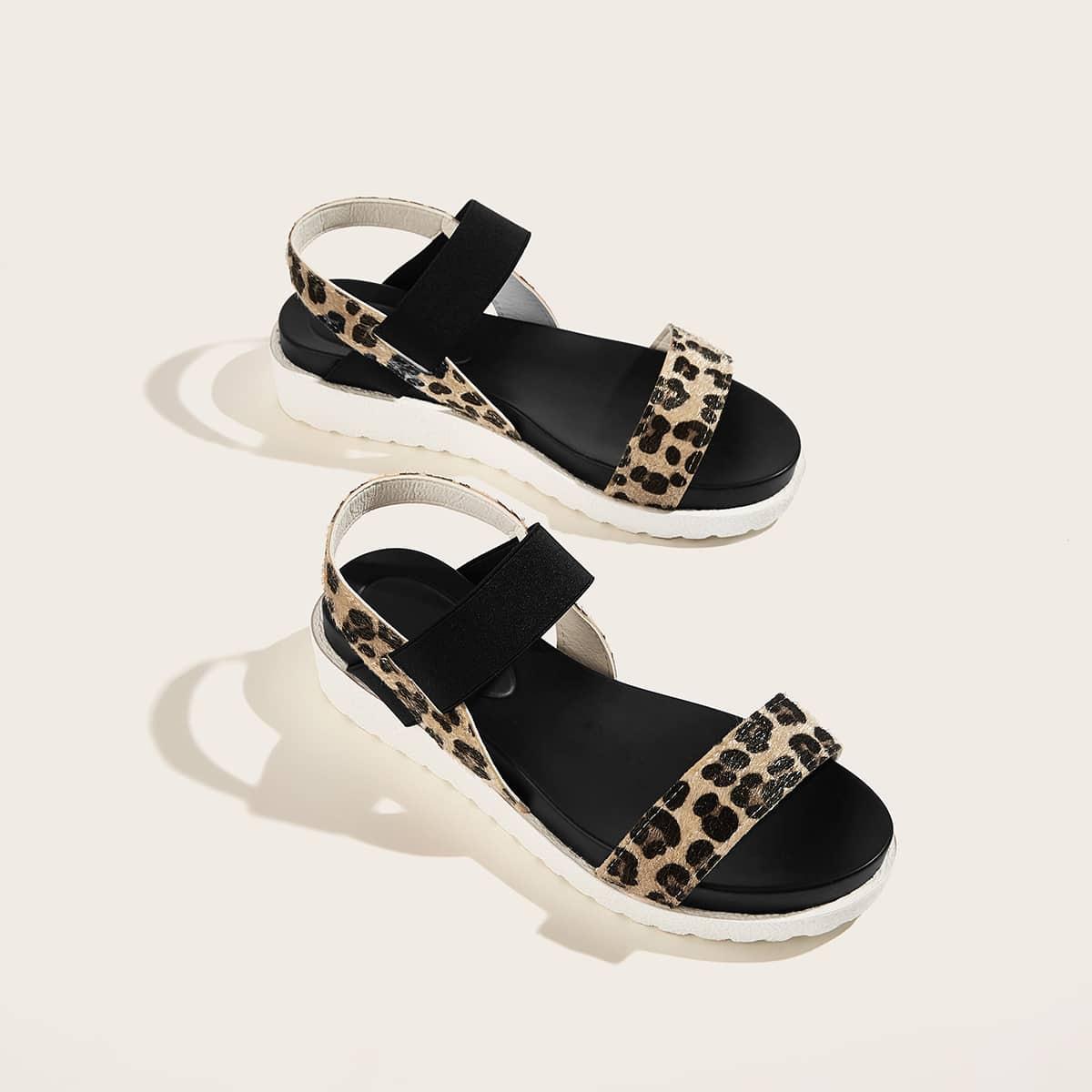 Sandalen met elastische band in luipaardprint