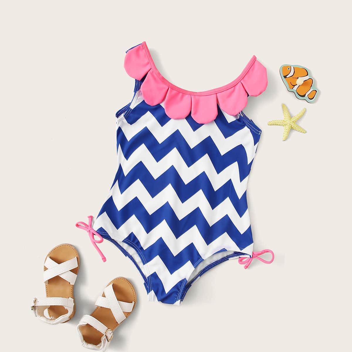Baby Girl Chevron Badmode met print uit een stuk
