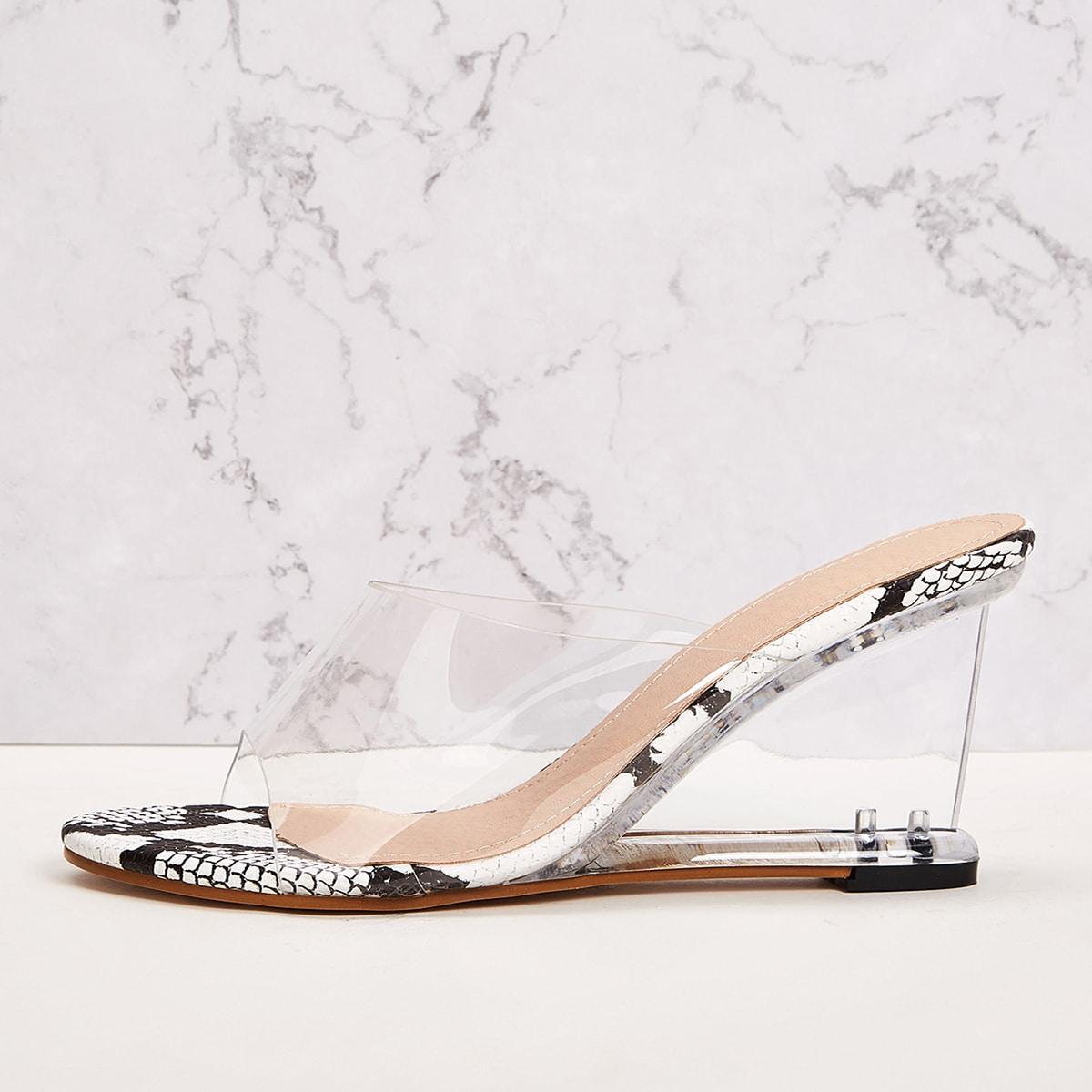 Snakeskin Clear Sole Wedge Mules