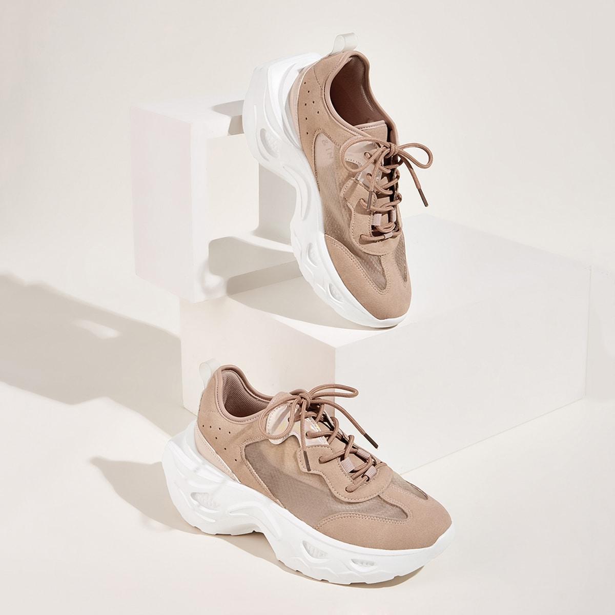 Сетчатые кроссовки на платформе и шнуровках
