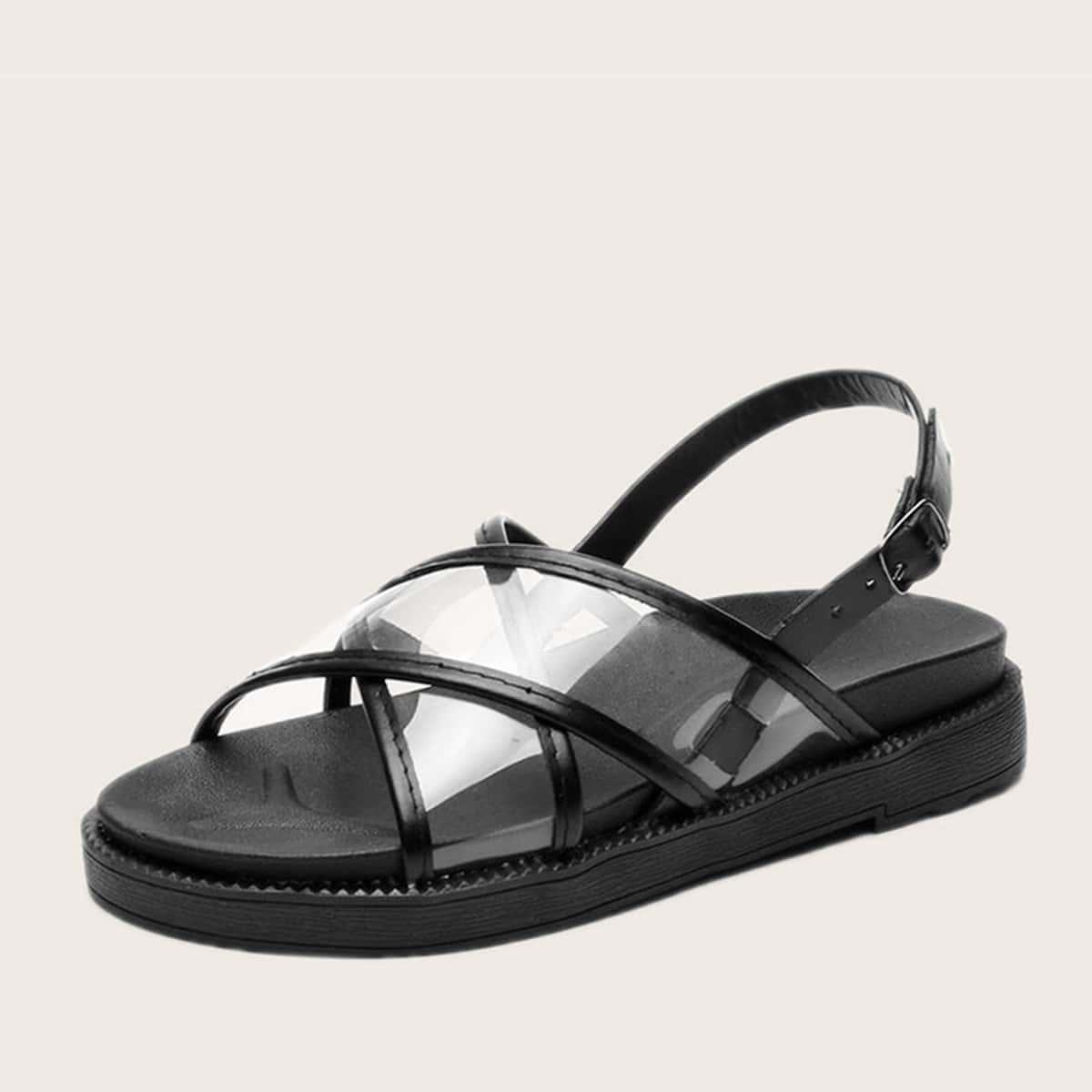 Doorzichtige platte sandalen met open teen en slingback