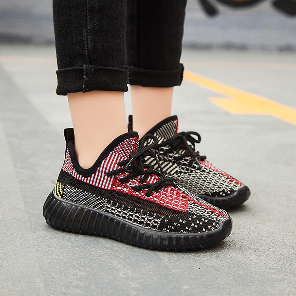 Контрастные кроссовки на шнуровках для девочек от SHEIN