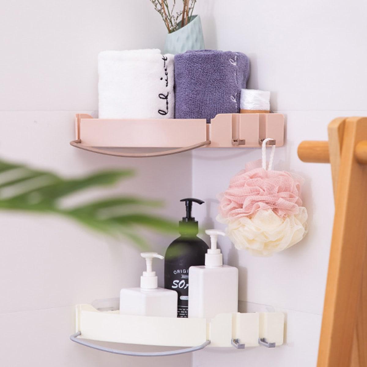 1pc badkamer hoek wandgemonteerd opbergrek