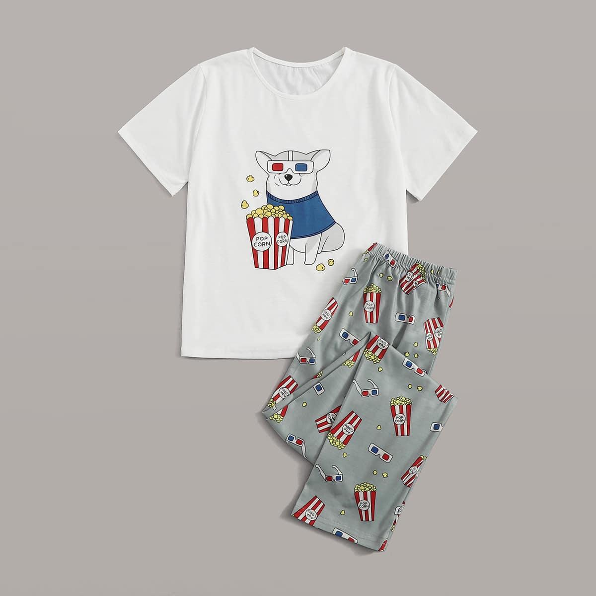Пижама с принтом собаки и попкорна для мальчиков от SHEIN