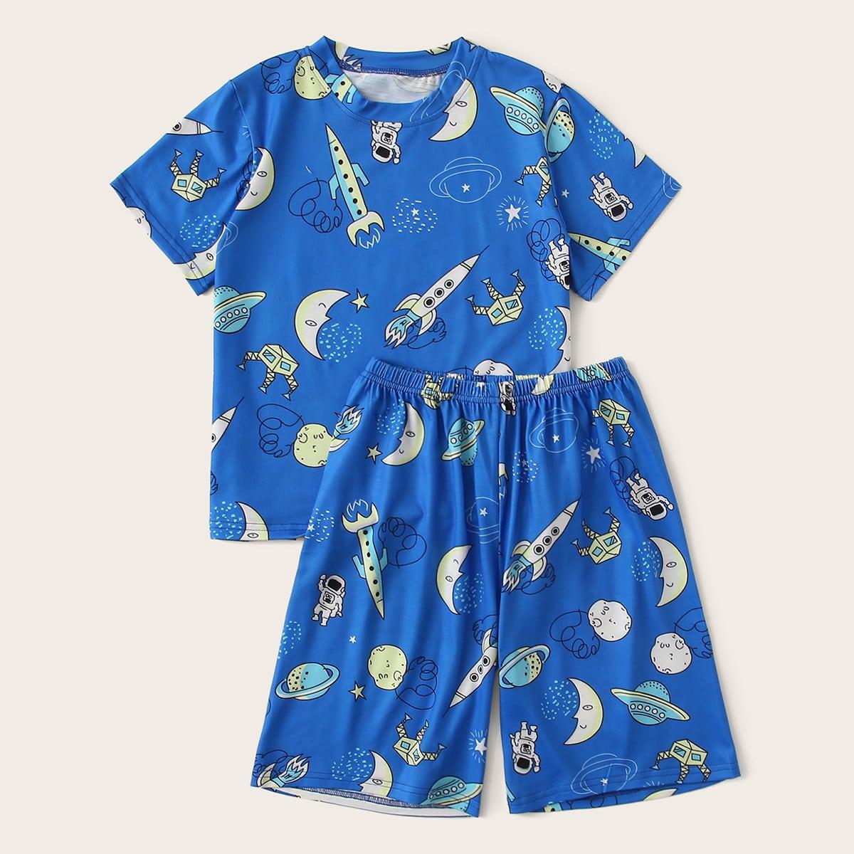 Пижама с принтом ракеты для мальчиков от SHEIN