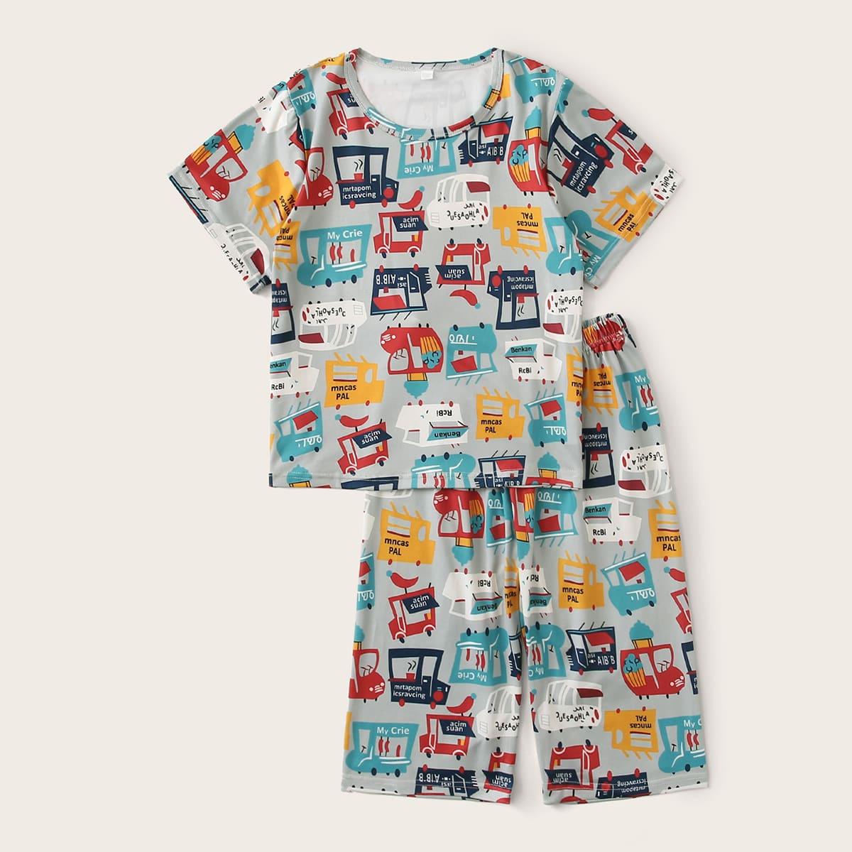 Пижама с принтом машины для мальчиков от SHEIN