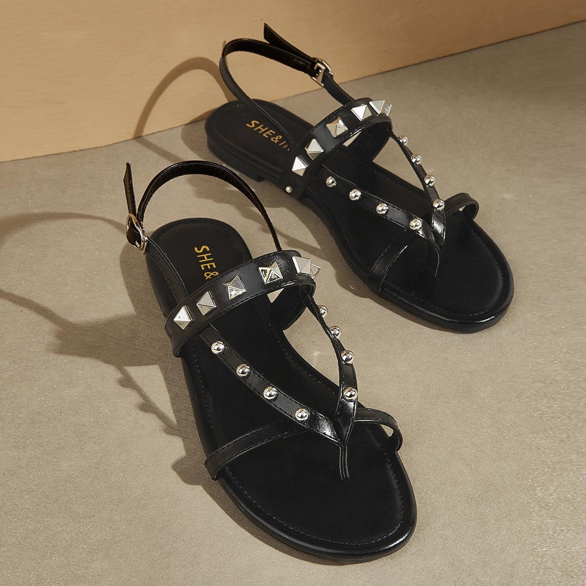 Toe Post bezaaid Decor Slingback sandalen