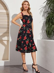 Sweetheart   Floral   Dress   Print   Neck