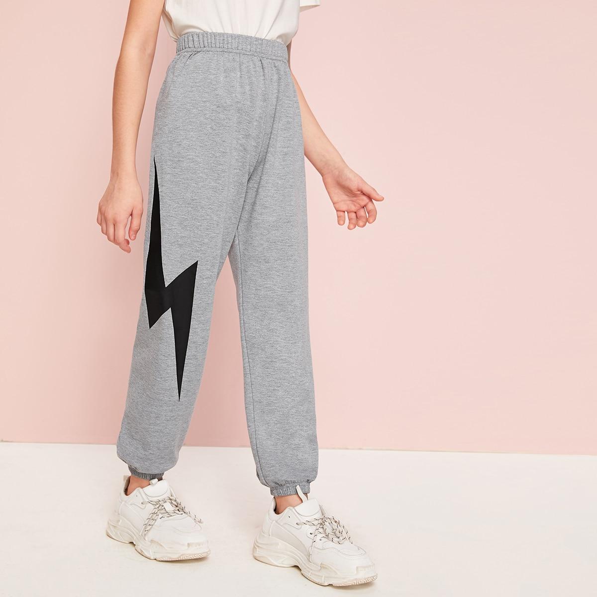 Спортивные брюки с принтом для девочек фото