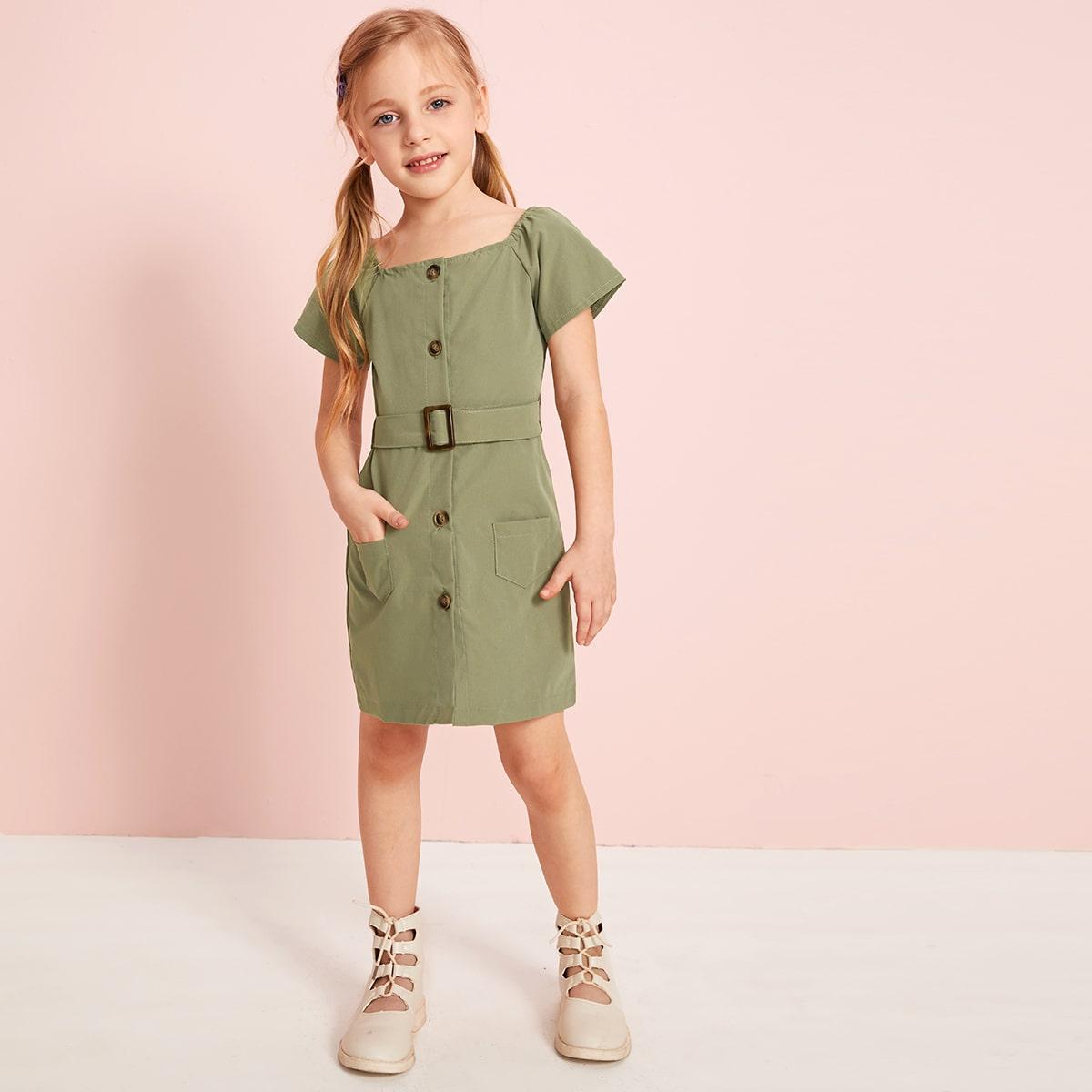 Платье туника с поясом и пуговицами для девочек от SHEIN