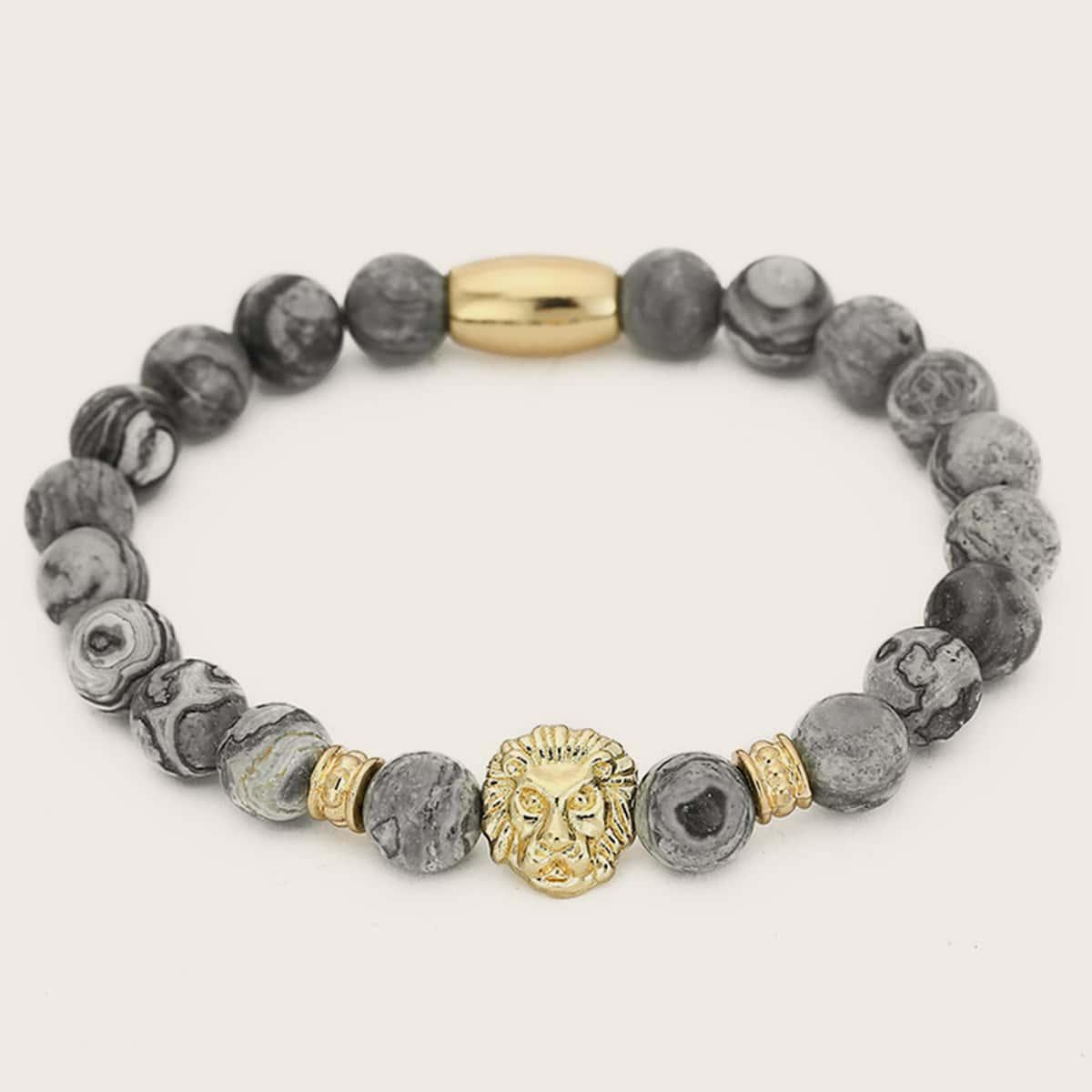 SHEIN / 1pc Männer Tier Head Decor Perlen Armband
