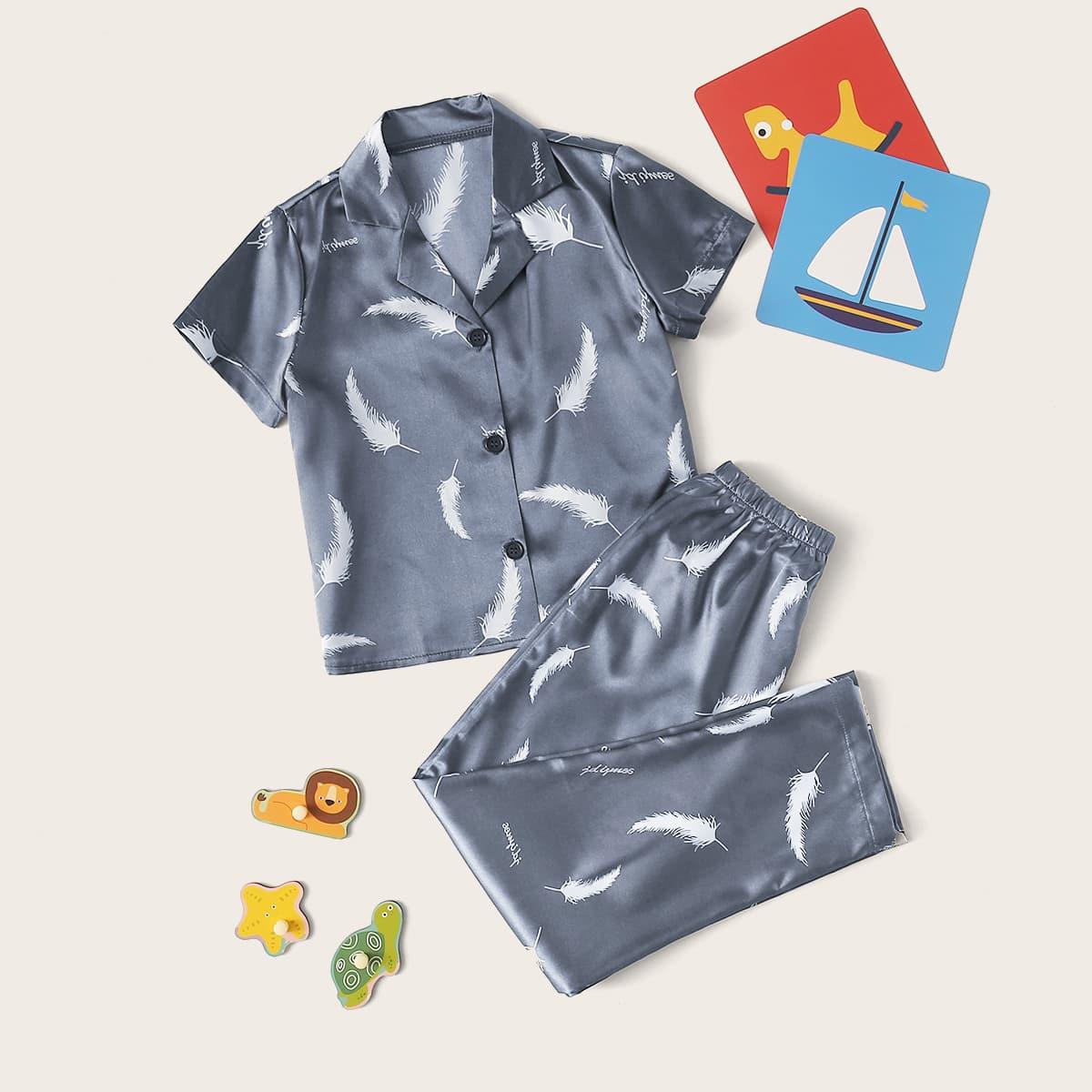 Пижама с принтом меха для мальчиков от SHEIN
