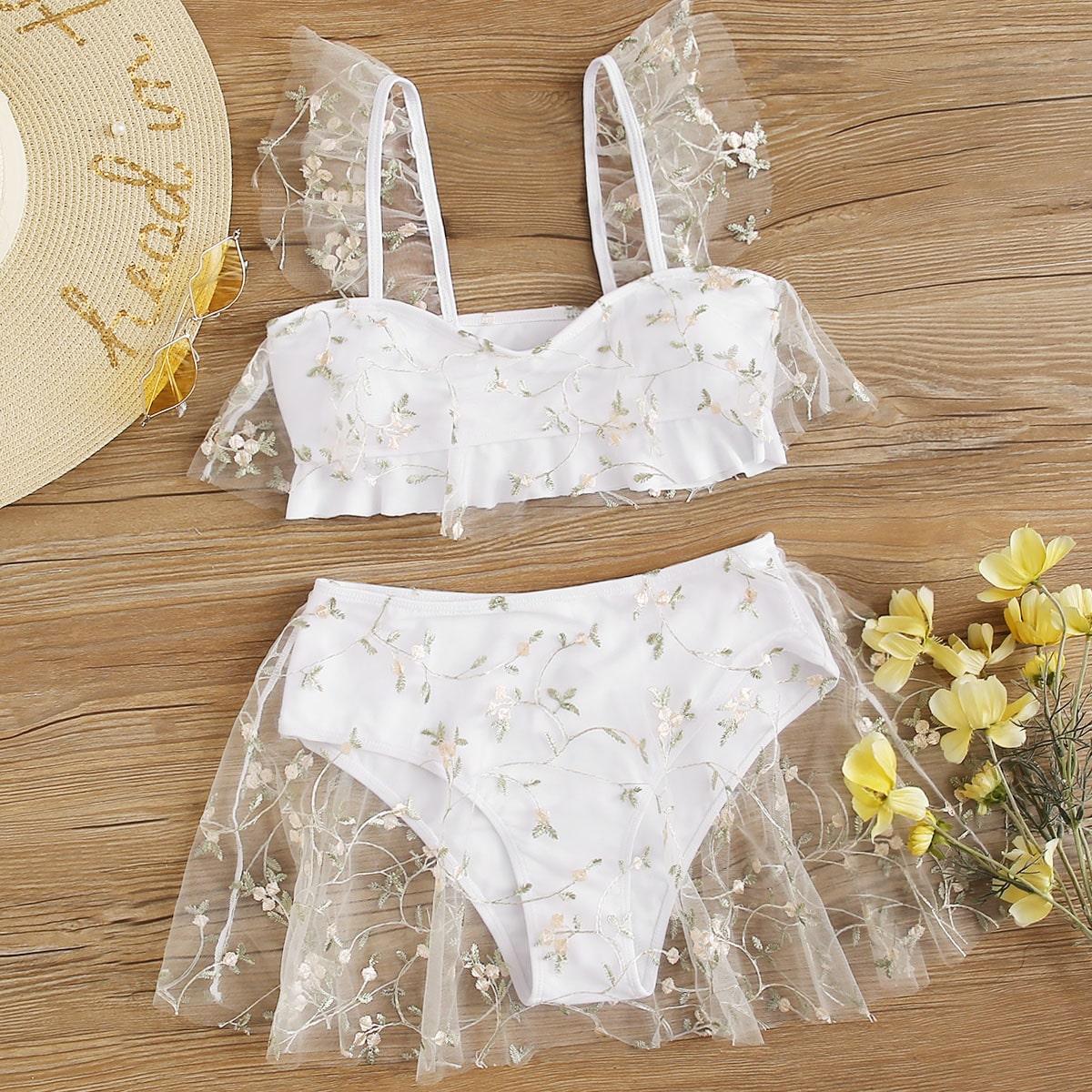 SHEIN / Floral Embroidered Mesh Bikini Swimsuit
