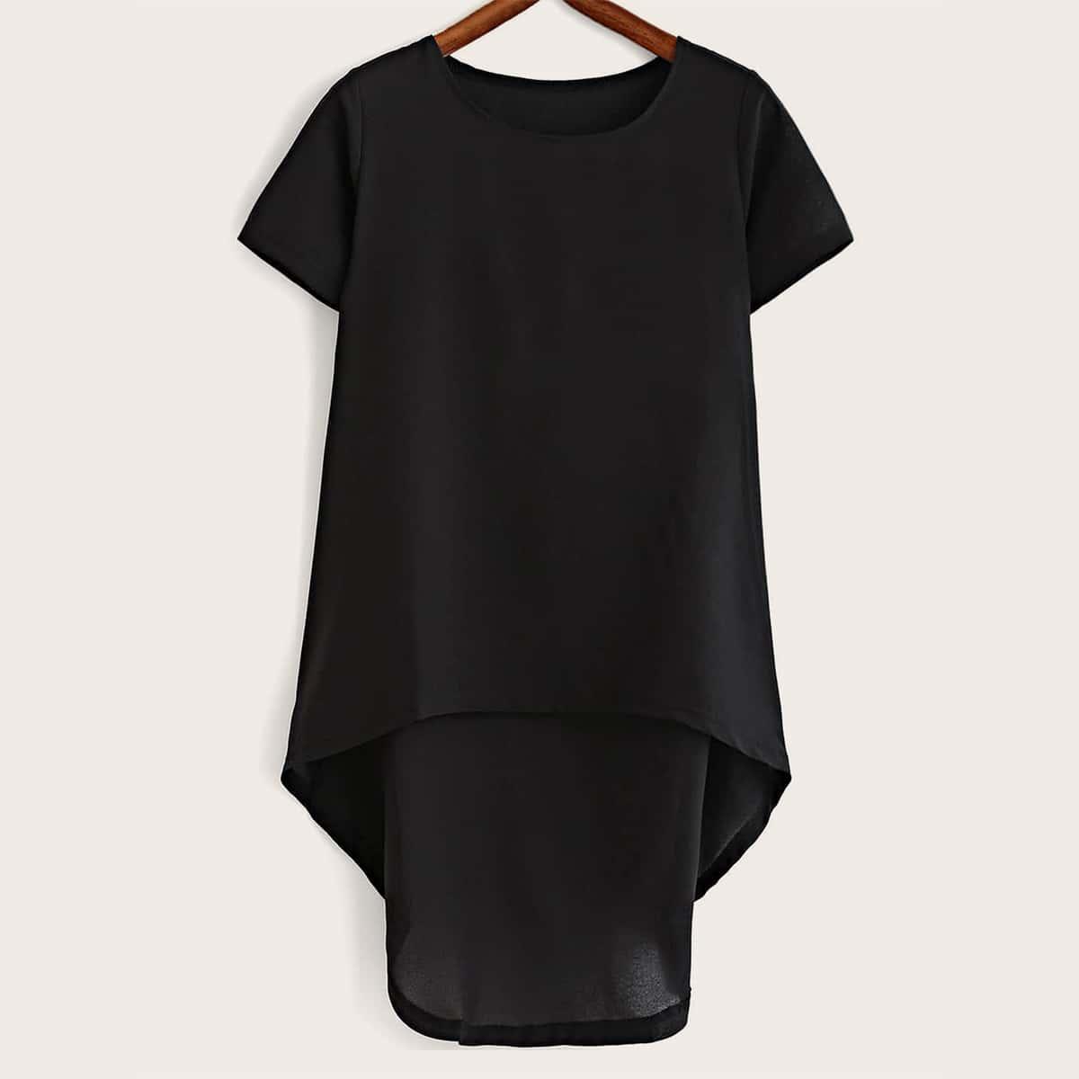 Однотонная асимметричная блуза размера плюс