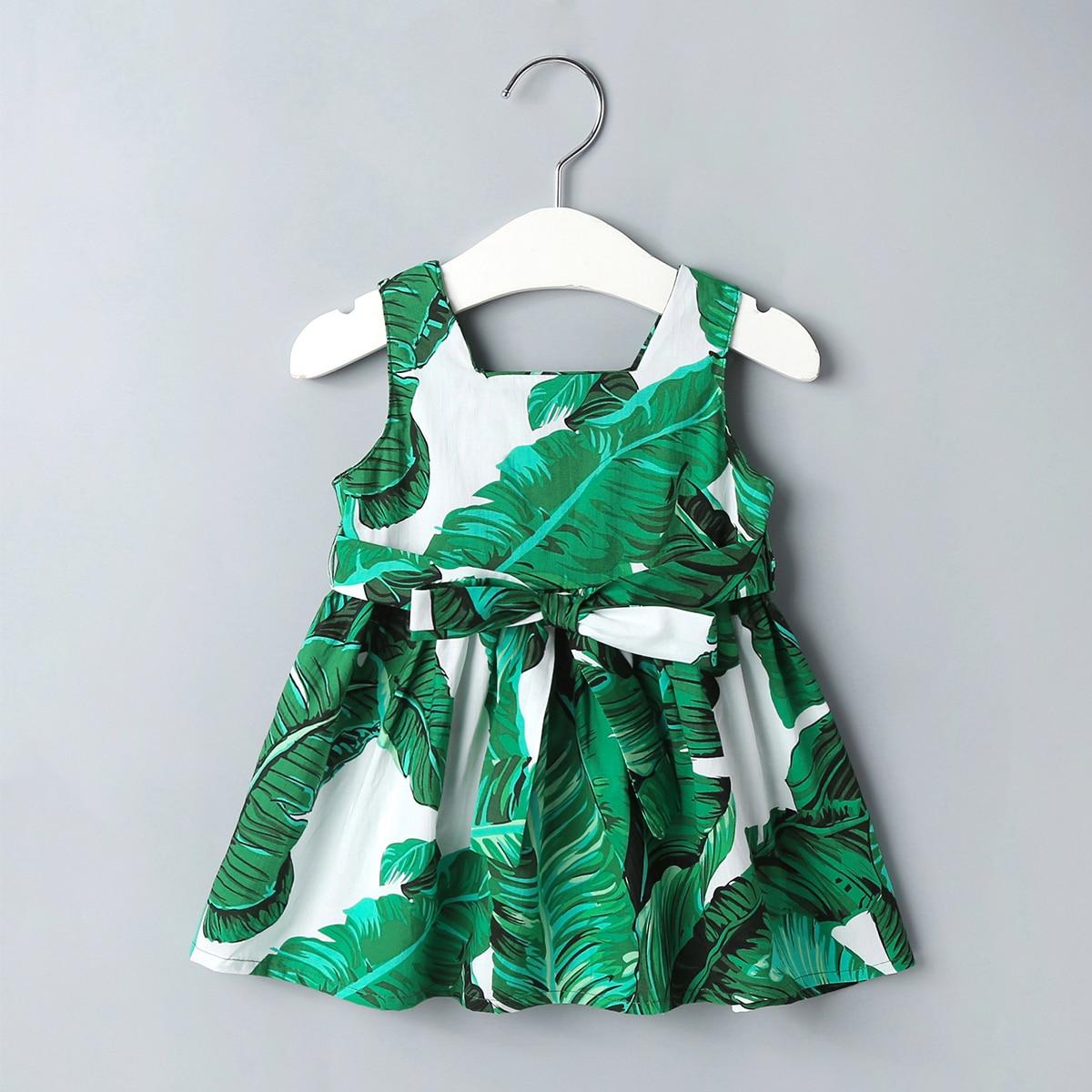 Платье с квадратным вырезом, поясом и тропическим принтом для девочек от SHEIN