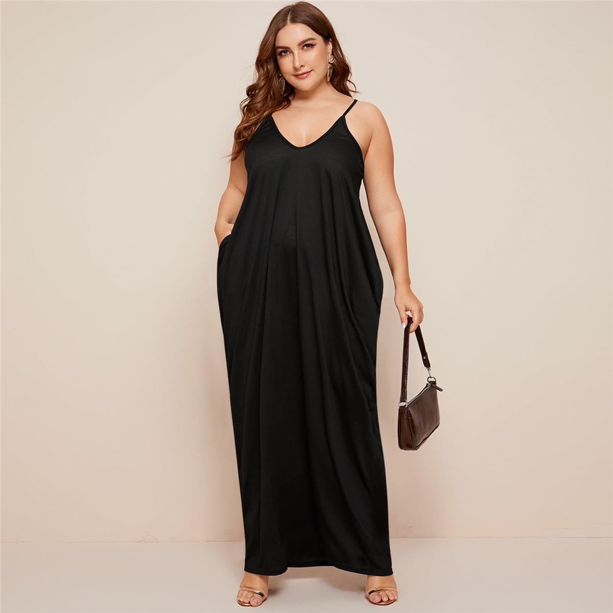 Однотонное платье макси размера плюс с карманом