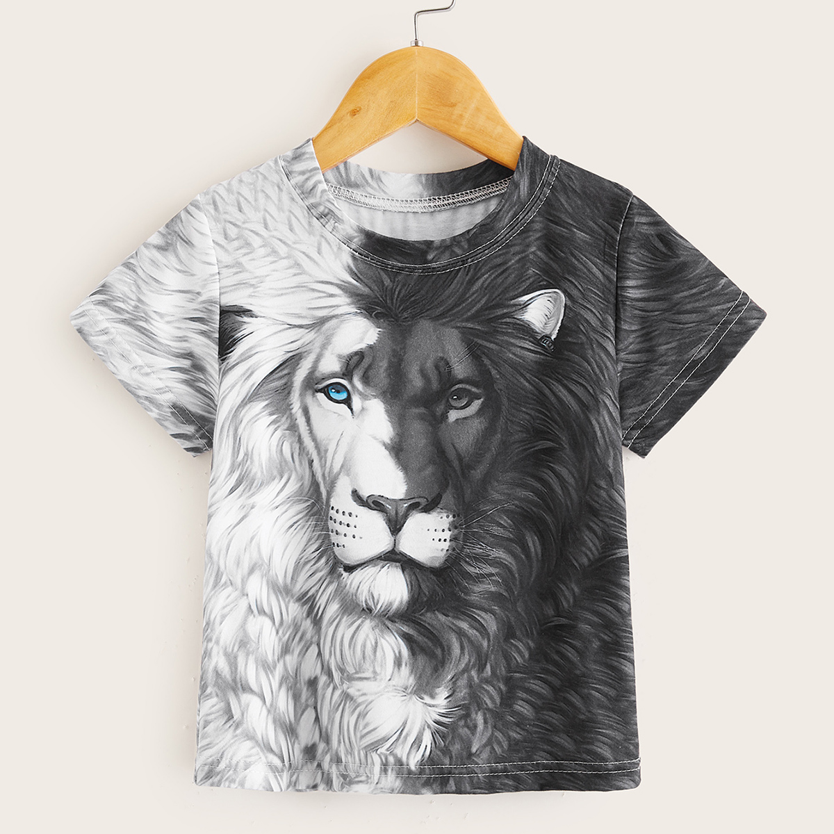 Контрастная футболка с принтом лева 3D для мальчиков от SHEIN