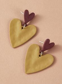 Earring | Block | Heart | Decor | Color