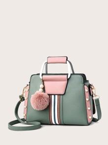 Faux Pearl & Pom-pom Decor Striped Panel Satchel Bag