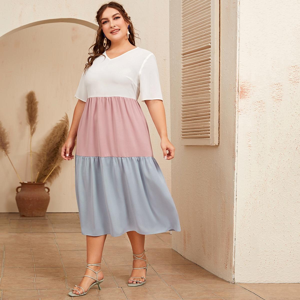 Контрастное платье размера плюс с молнией сзади фото
