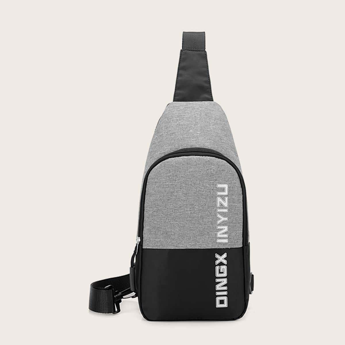 Mannen letter grafische tweekleurige sling bag