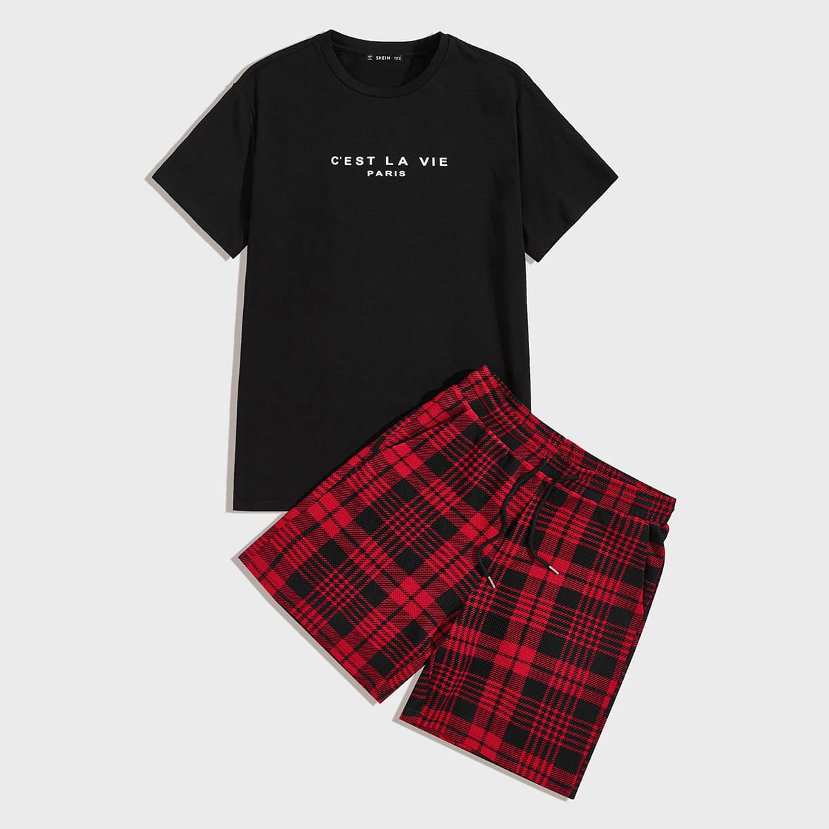 Мужские шорты в клетку и топ с текстовым принтом от SHEIN