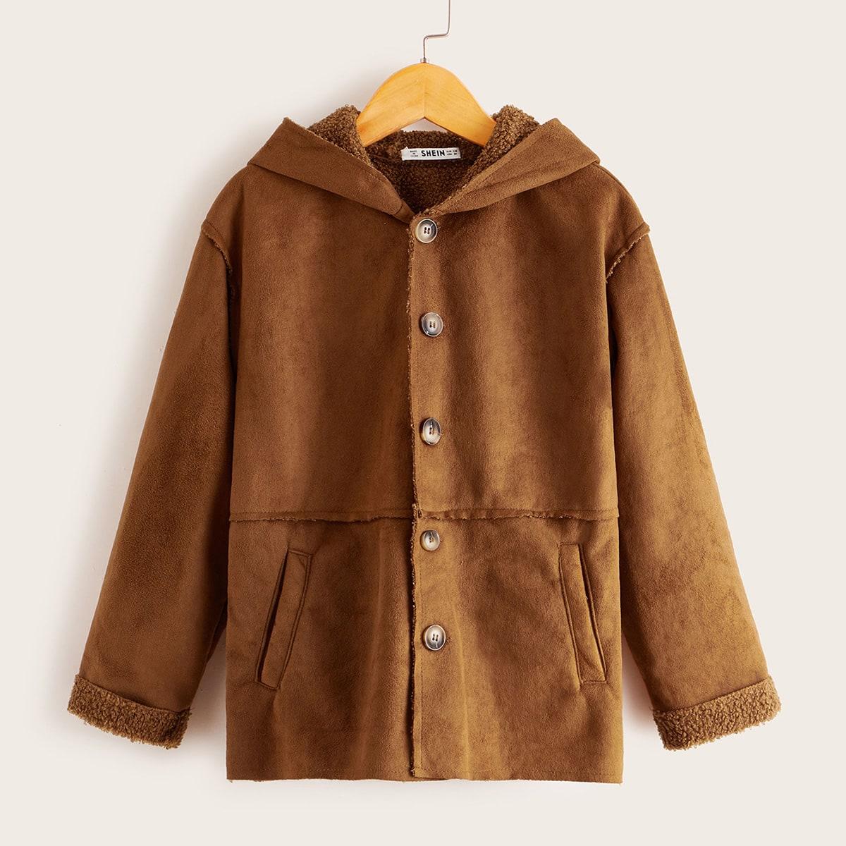 Однобортное пальто с капюшоном для мальчиков от SHEIN