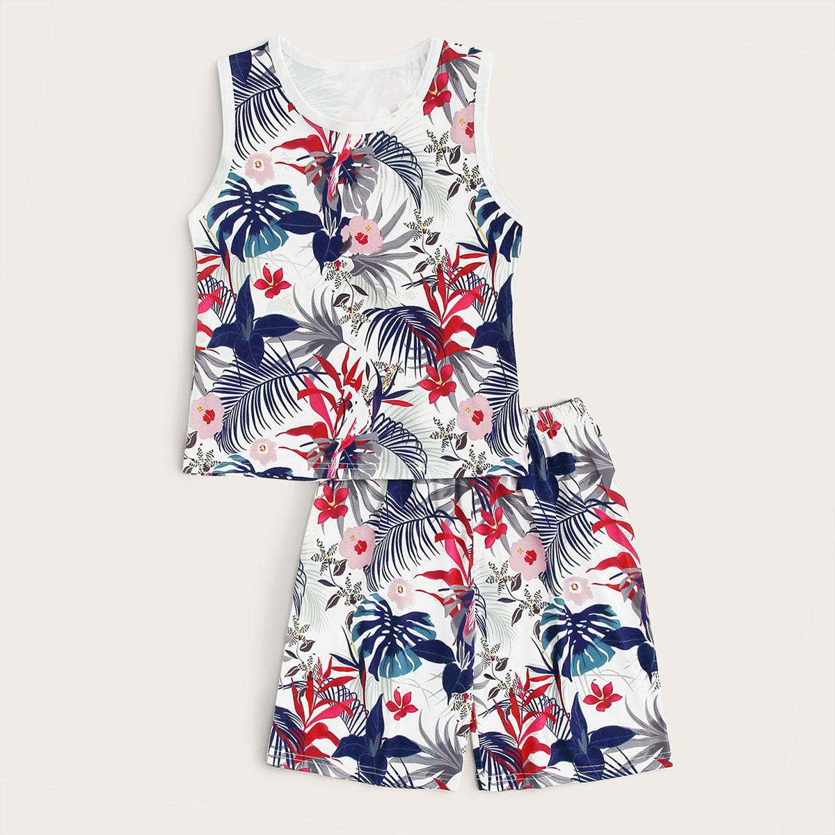 Пижама с тропическим принтом для мальчиков от SHEIN