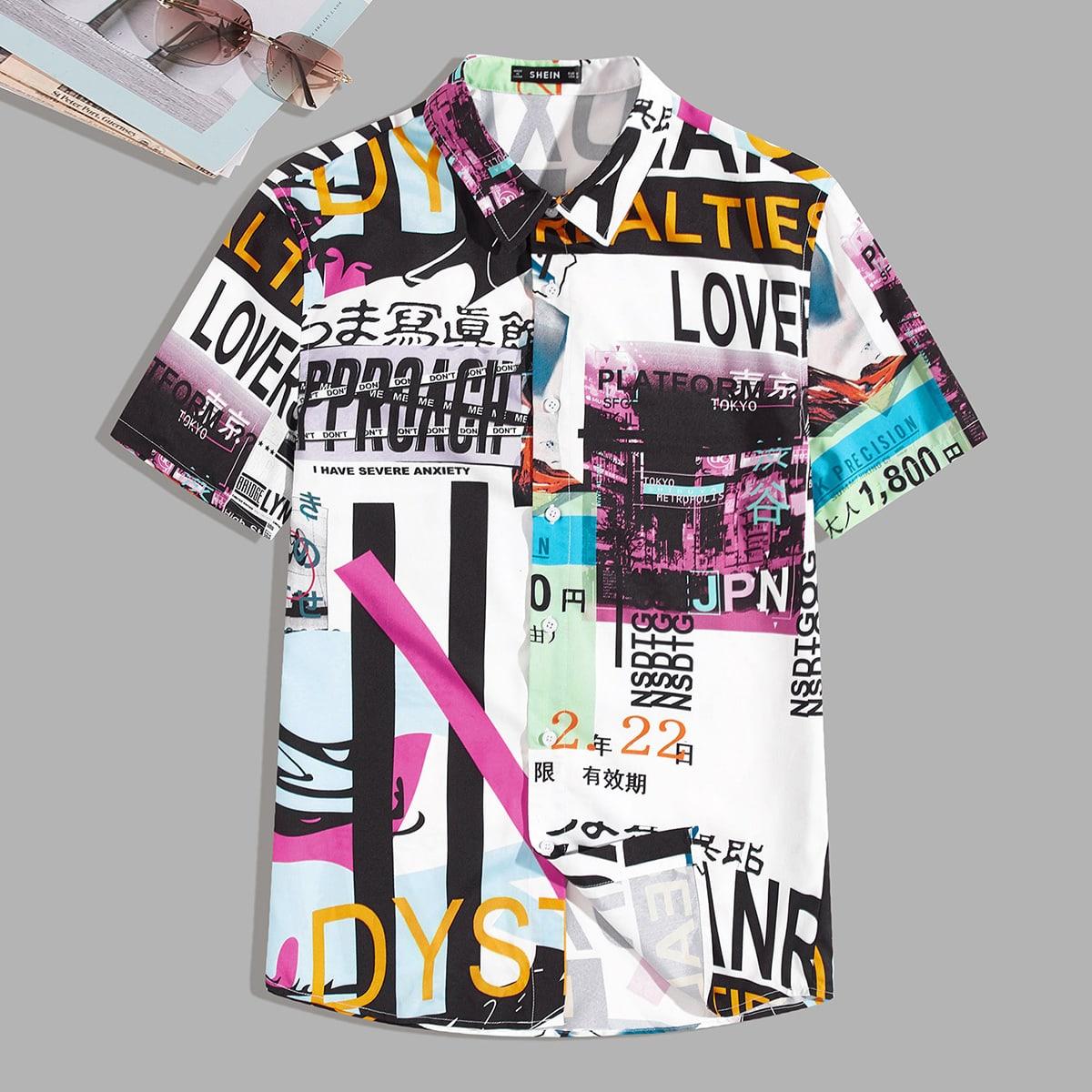 Мужская рубашка с текстовым принтом фото