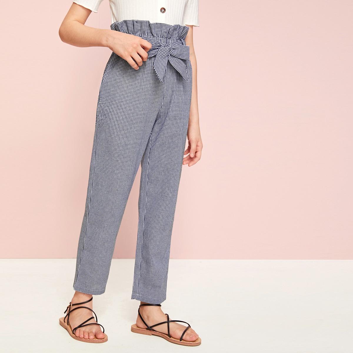 SHEIN / Pantalones de niñas de cuadros con cinturón de cintura con volante