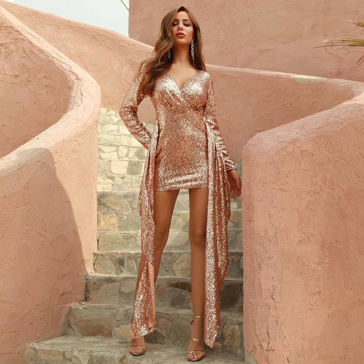 SHEIN / DKRX vestido ajustado con lentejuelas con diseño de fruncido