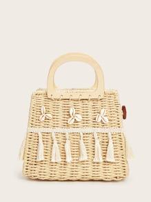 Tassel & Shell Decor Metal Handle Crochet Satchel Bag