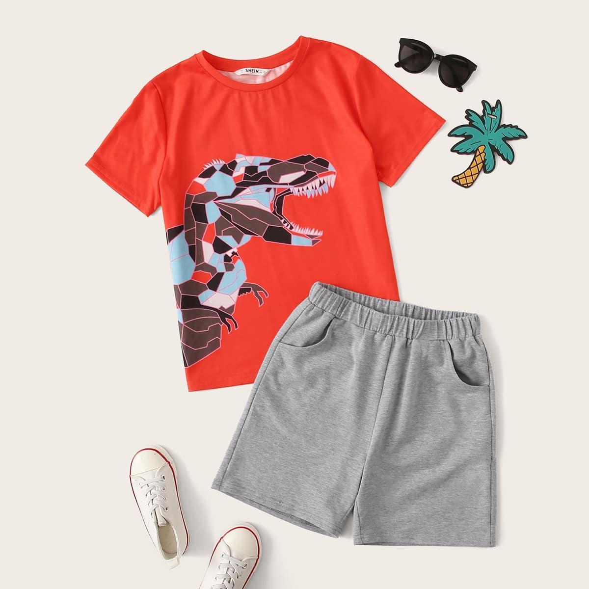 SHEIN / Jungen Top mit Karikatur Grafik und Shorts Set mit Tasche