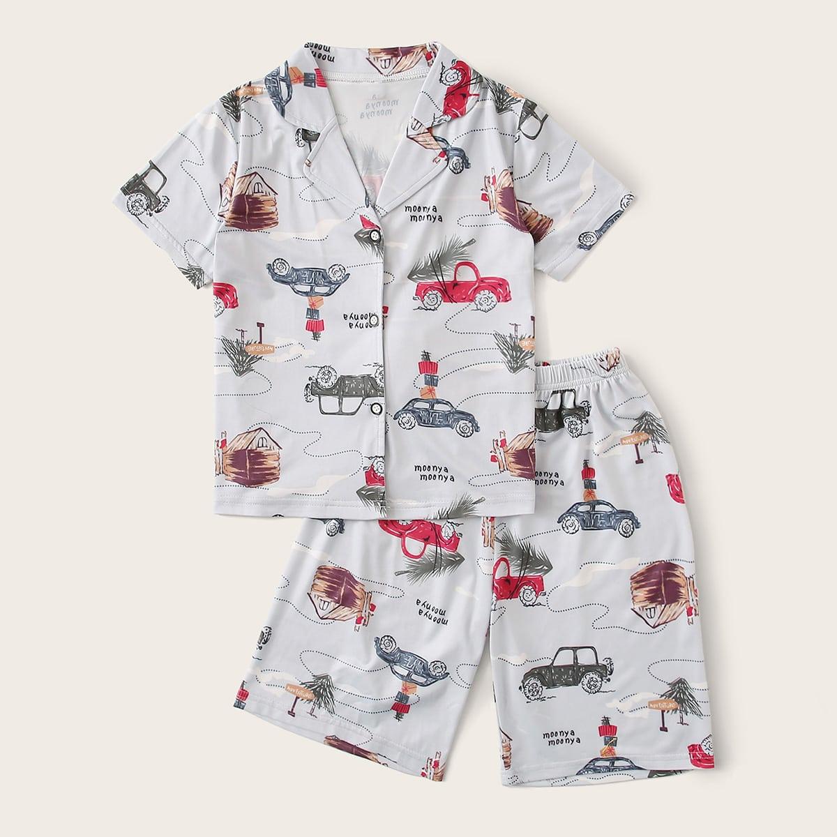 Пижама с оригинальным принтом и воротником-лацканом для мальчиков от SHEIN