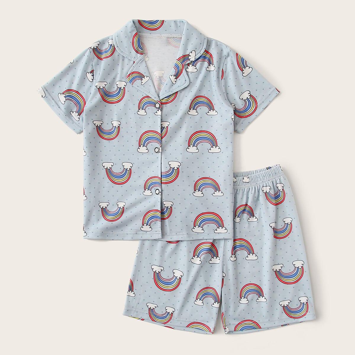 Пижама в горошек с узором радуги с воротником-лацканом для мальчиков от SHEIN