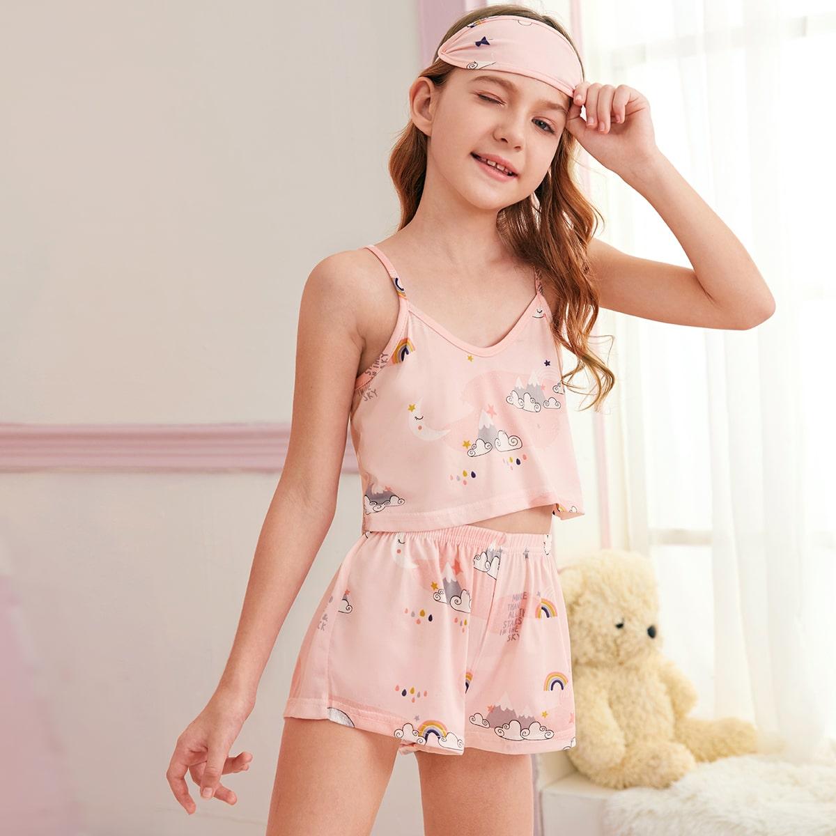 Маска для глаз и пижама на бретелях с мультяшным принтом для девочек от SHEIN