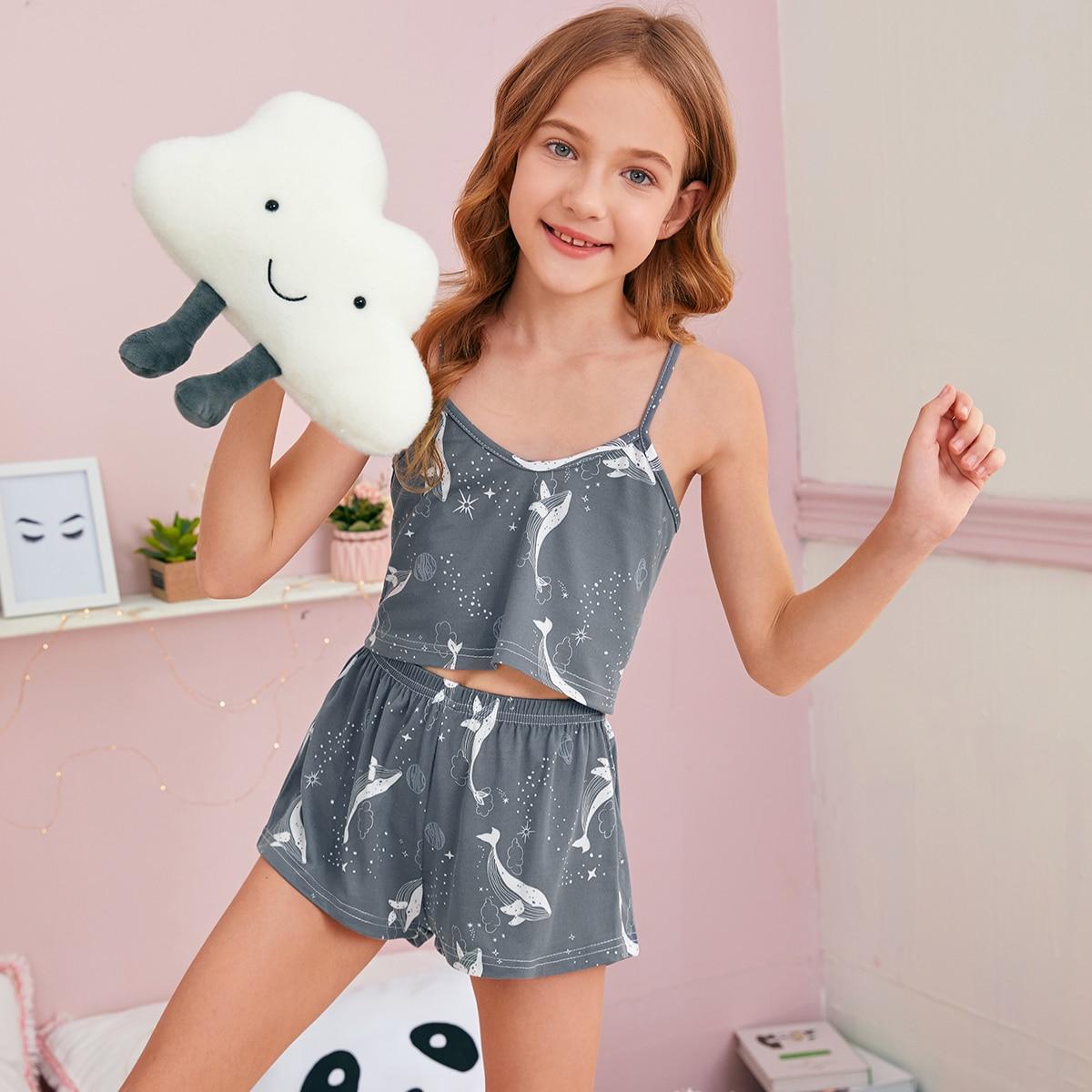 Маска для глаз и пижама на бретелях с принтом дельфина для девочек от SHEIN