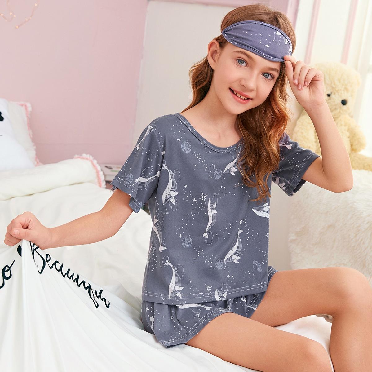 Пижама с принтом и маской для глаз 3шт фото