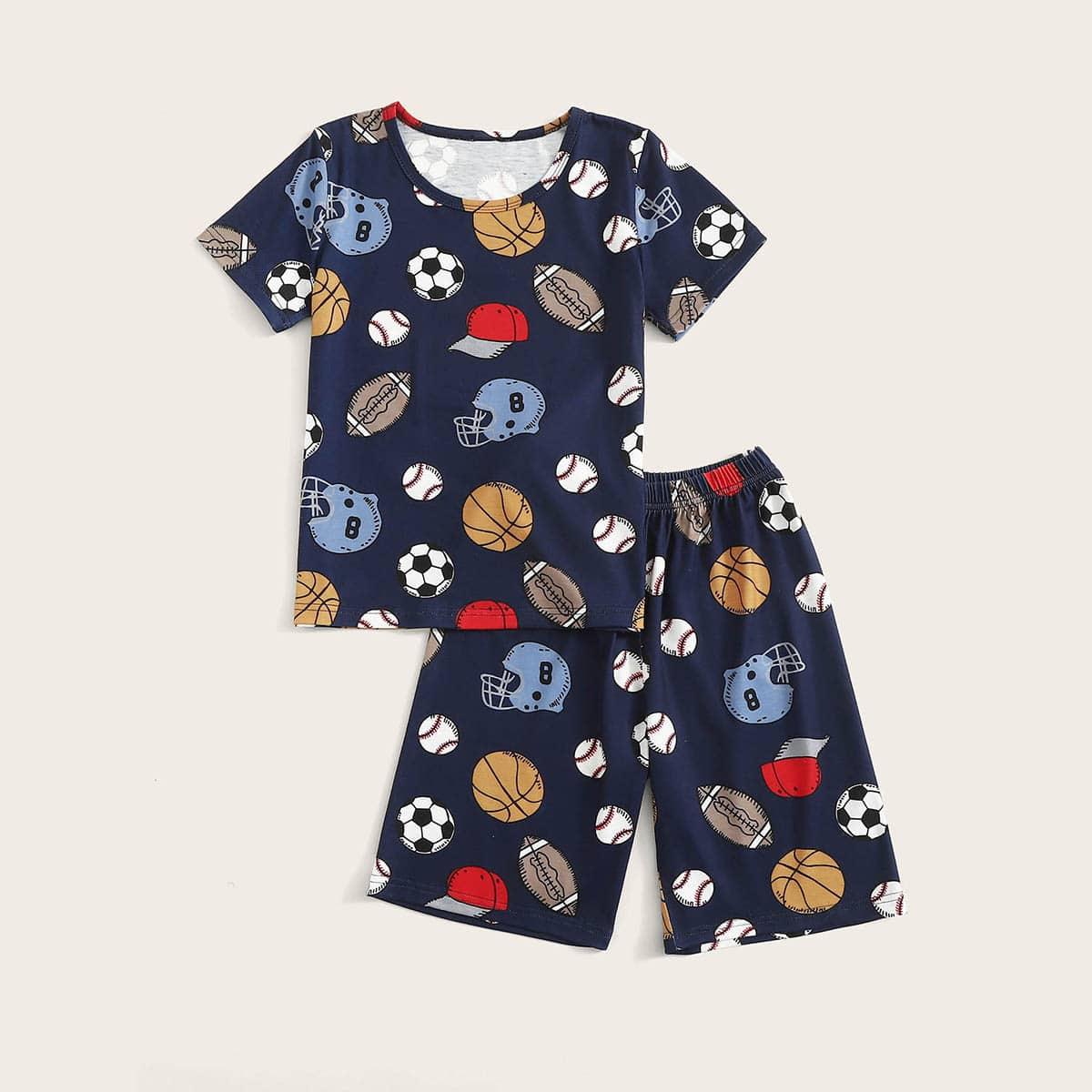 Пижама со случайным принтом для мальчиков от SHEIN