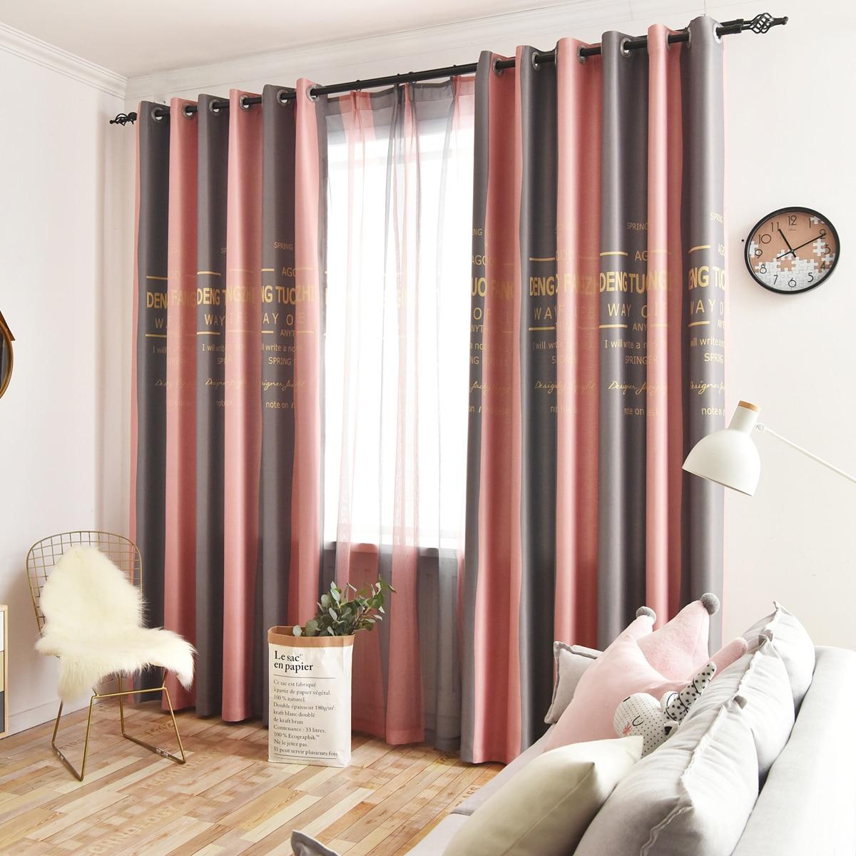 1pc Slogan Graphic Eyelet Curtain