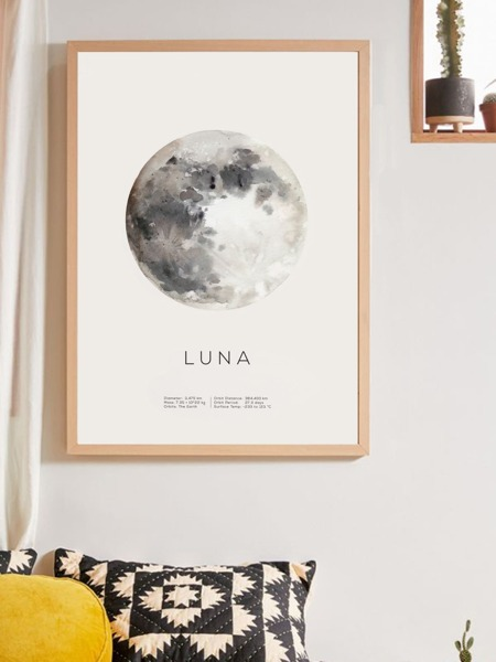 Moon Pattern Wall Print Without Frame