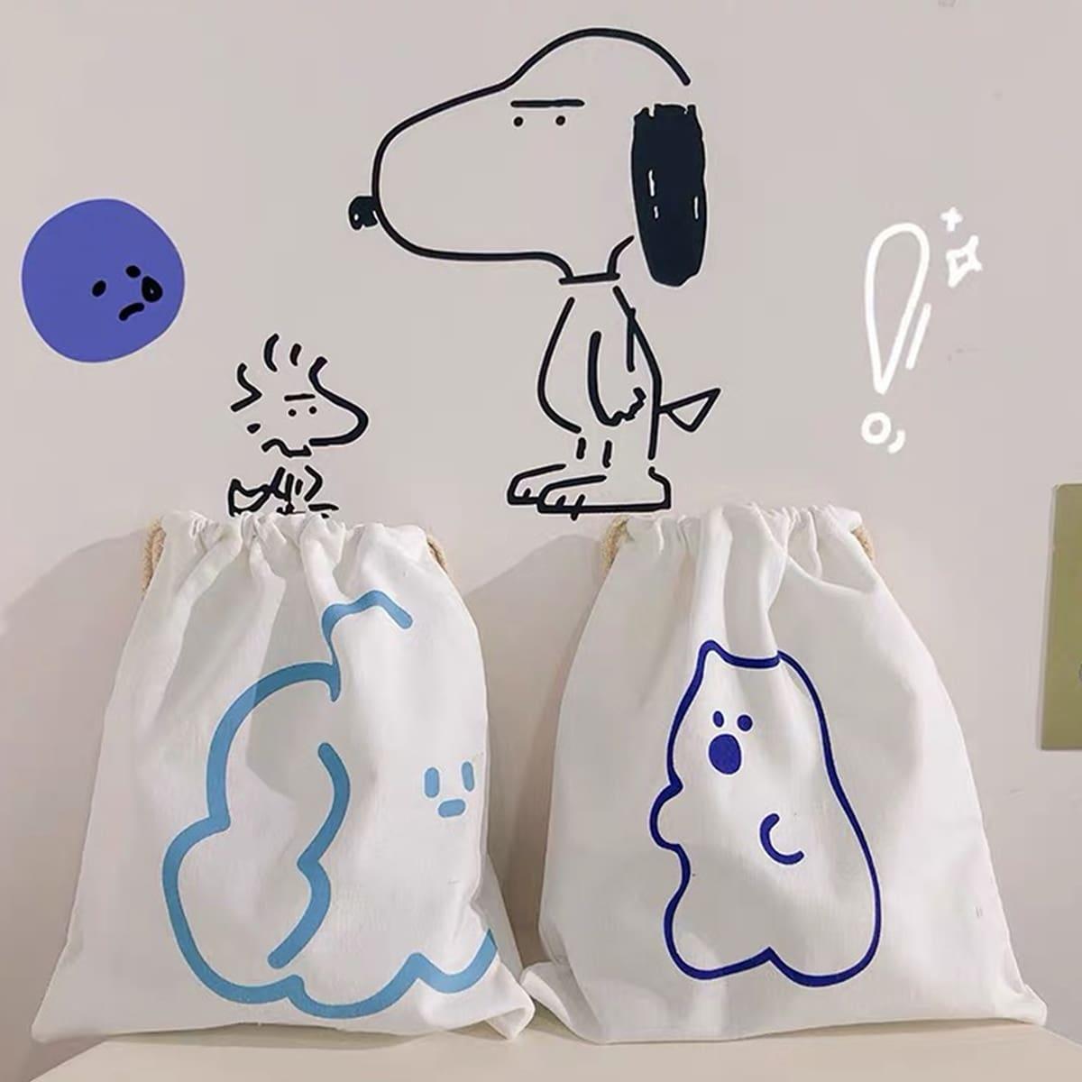 1pc Cartoon Print Drawstring Storage Bag