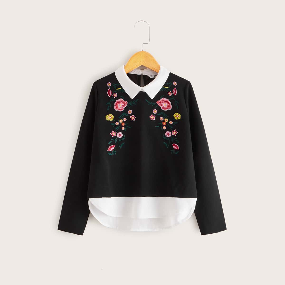 2 в 1 топ с цветочной вышивкой для девочек от SHEIN