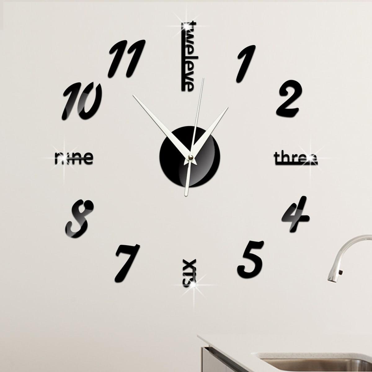 1pc nummer & letter ontwerp spiegel oppervlak wandklok