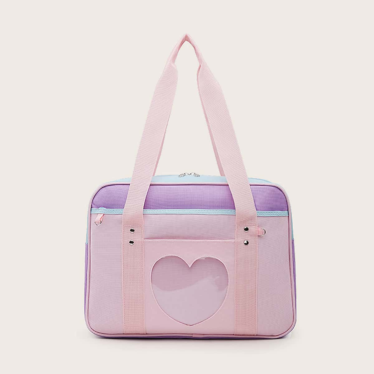 Clear Heart Design Color-block Tote Bag With Purse (swbag18200306489) photo