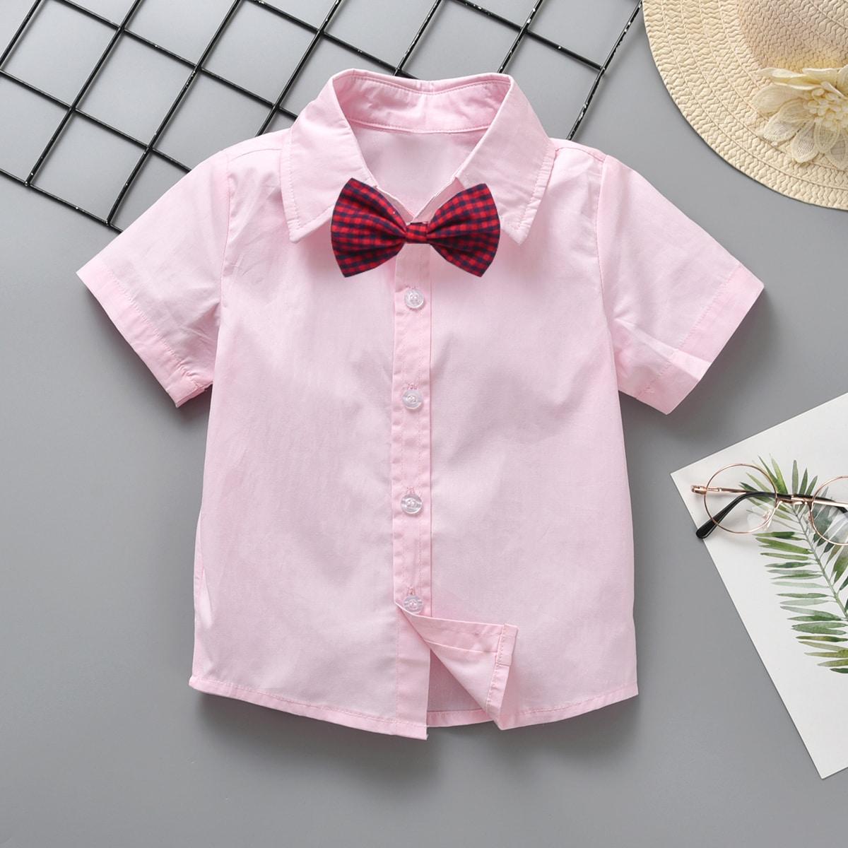 Рубашка с пуговицами и клетчатым бантом для мальчиков от SHEIN