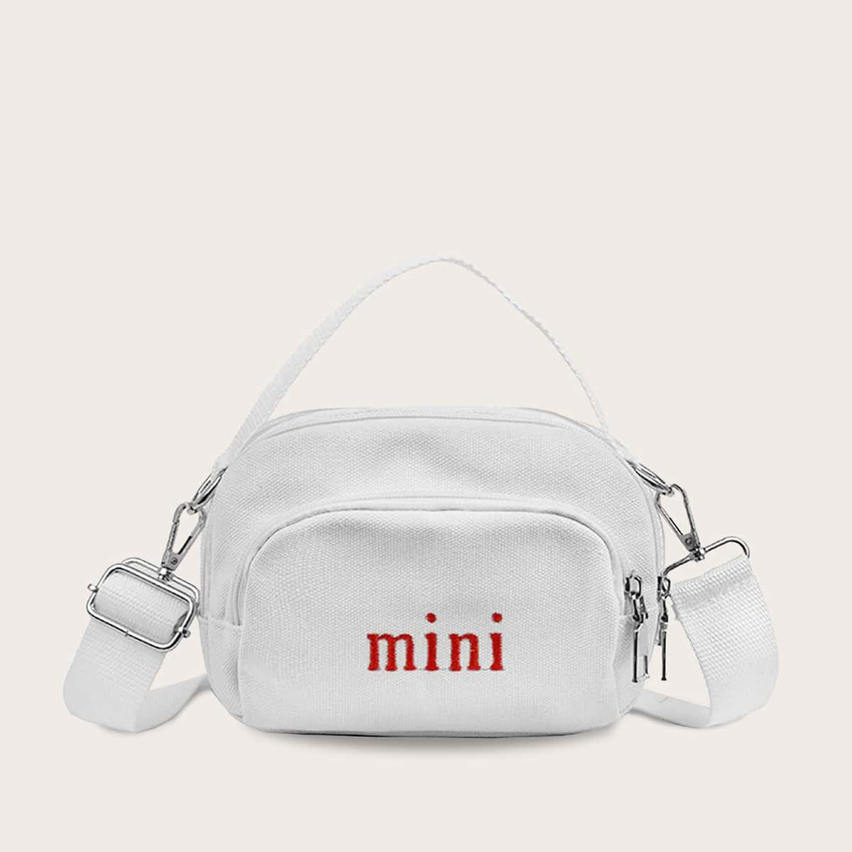 Girls Letter Graphic Pocket Front Satchel Bag