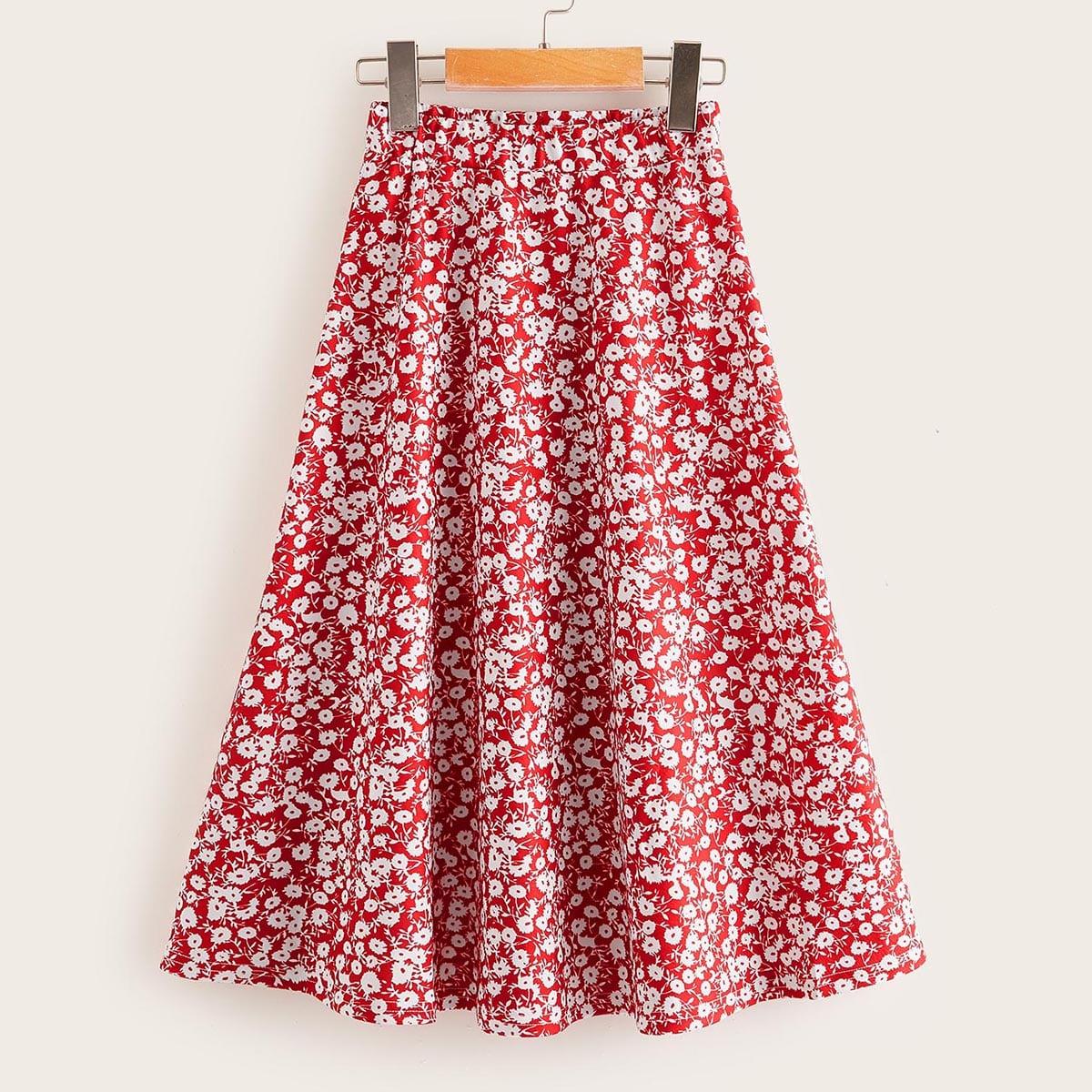 Юбка с цветочным принтом для девочек от SHEIN