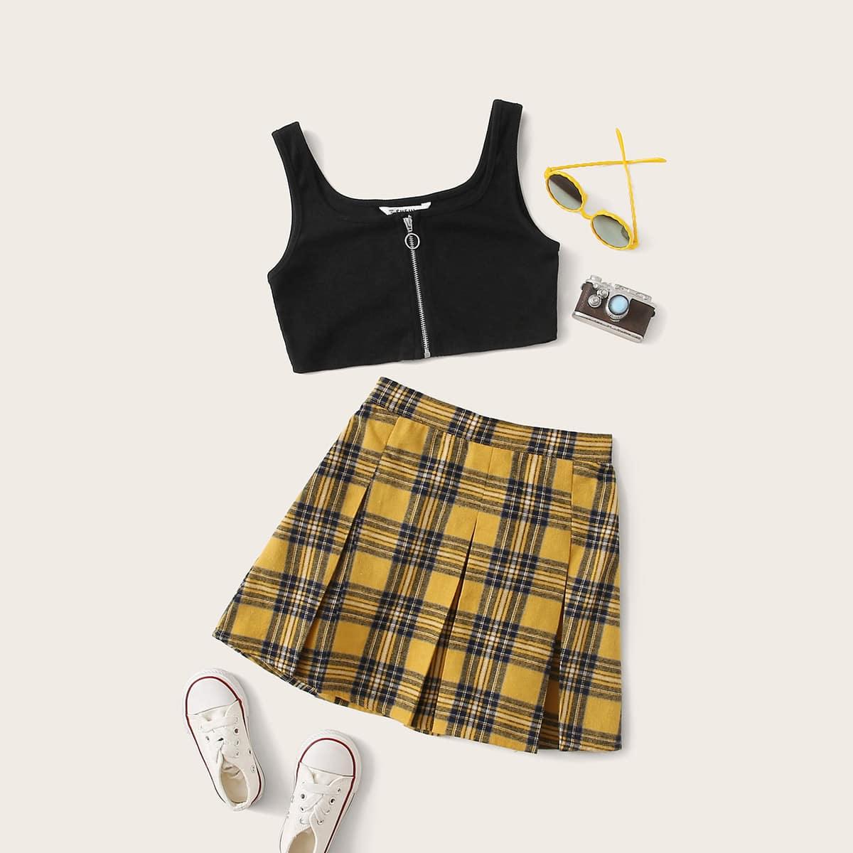 SHEIN / Mädchen Tank Top mit O Ring, Reißverschlussvorn und Rock Set mit Falten